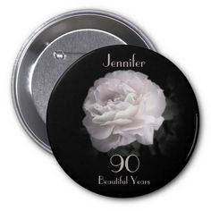 90 Years Old, Pale Pink Rose Button / Pin / Pinback - This pin is decorated with our original photo of a beautiful ultra pale pink rose on a black background. This unique pin / button / pinback is a great gift for someone who is 90 Years Old. It can be personalized, both name and # of years. It is also available in other sizes - even jumbo! Original photo by Alan Socolik. All Rights Reserved © 2013 A&M Socolik. #90thBirthday #90YearsOld #BirthdayParty #Pinbacks