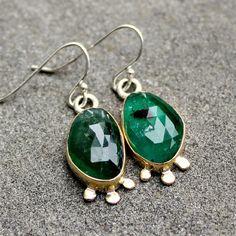 Emerald Earrings  Rose Cut Emerald Earrings  Emerald by lsueszabo, $650.00