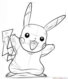 How to draw Pikachu Pokémon step by step. Drawing tutorials for kids and…