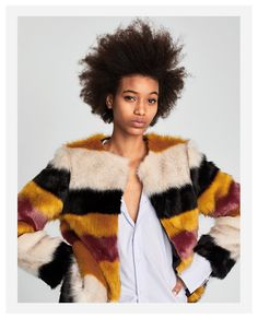 FAUX FUR COAT WITH MULTICOLOURED STRIPES