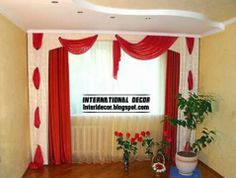 unique red curtain designs, red window treatments