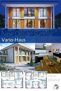 Dieses schicke Bauhaus von Vario-Haus hat sogar einen KfW 40 Energiestandard! ➤ Klick auf das Bild, um direkt zur Auswahl an Bauhäusern zu gelangen ➤ Dazu findest du ein großes Angebot von Häusern aller Art auf www.Fertighaus.de ______ Cubus Haus Architektur, Hausbau, modern, Design, Flachdach