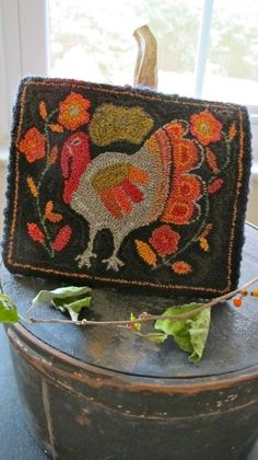 """Punch needle turkey by Lori Rippey My girl loves Thanksgiving. She will tell you it's because, """"It's all about the food!"""". It took ..."""