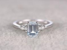5x7mm Emerald Cut Aquamarine Engagement Ring Diamond Wedding Ring 14k White Gold Unique Prong Set