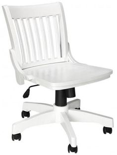 Oxford Adjustable-Height Office Chair  sc 1 st  Pinterest & Armless Wood Bankeru0027s Chair - Antique White. If I did go the rolling ...
