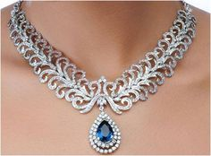 """""""Vega""""...only $19,500 or P858,000!! Designer 10.24ct Diamond & Sapphire Necklace / 42.850g! Imported, world-class quality, not pre-owned, not pawned, not stolen. We deliver worldwide <3"""
