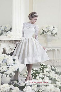 New White/Ivory Lace Long-sleeve Short Wedding dresses Bridal gown Custom