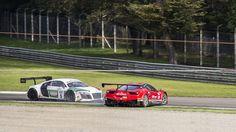 2014 italian GT Championship  - Audi r8 hits Ferrari 458 Italia