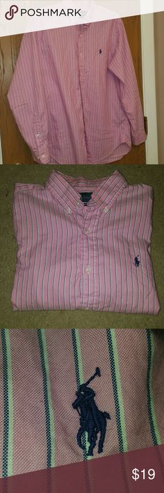 Men's Ralph Lauren Button-Up This is a men's medium Ralph Lauren button-up. The neck measures 15 1/2 as shown on the tag. It is a pink shirt with navy and white stripes and a navy logo. Item is in good condition. Ralph Lauren Shirts Casual Button Down Shirts