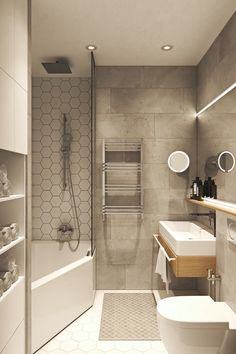 Photo 22 of 22 in Interior Design Project in Contemporary Style by Geometrium - Dwell Modern Bathrooms Interior, Contemporary Bathroom Designs, Bathroom Design Luxury, Home Interior, Contemporary Style, Bathroom Layout, Small Bathroom, Hallway Designs, Minimalist Room
