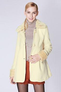 Pure Color Elegant Slim Coat with Velvet Collar [FEBK0458]- US$ 74.99 - PersunMall.com