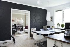 My favorite paint technique...any pattern paired with a high sheen of your base wall color..brilliant