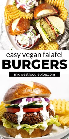 These easy vegan falafel burgers have all your favorite Middle Eastern flavors of classic fried falafel, but in burger form! Falafel Burgers, Vegan Burgers, Vegan Vegetarian, Vegetarian Recipes, Healthy Recipes, Vegan Food, Delicious Recipes, Healthy Foods, Easy Recipes