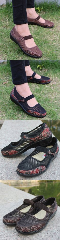 US$15.76  Big Size Mesh Breathable Flower Printing Wedge Heel Loafers