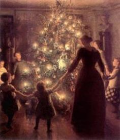 A Christmas tree, lit with candles, in the parlour on Christmas morning.