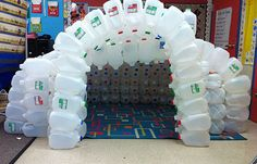 How awesome is this! Using recycled milk cartons to build a reading nook or classroom cave!