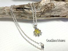 English Sea Glass Necklace, Yellow & White, Sea Glass Pendant, Lotus Flower…