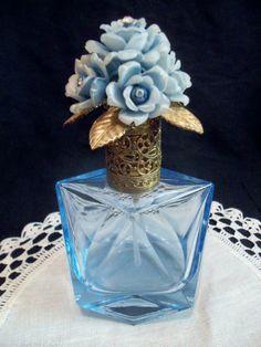 Vintage blue glass floral jewel topper perfume bottle