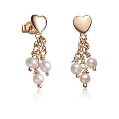 Sterling Silver Gold Plated Heart Shape Pearl Drop Earrings featuring polyvore fashion jewelry earrings jewelry & watches silver drop earrings sterling silver heart earrings pearl dangle earrings heart earrings sterling silver earrings