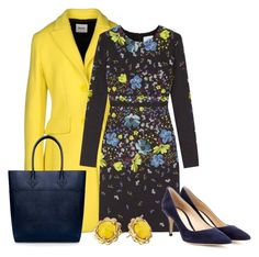 """""""Navy And Yellow"""" by sjlew ❤ liked on Polyvore featuring Moschino Cheap & Chic, Erdem, Gianvito Rossi, Kate Spade and Rebecca Minkoff"""