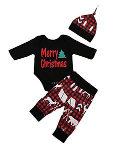 Gogoboi 3Pcs Cute Newborn Baby Boys Clothes Plaid PantsRomperHat Outfits Set for Christmas 06 months Black ** Click on the image for additional details. (This is an affiliate link) #ChristmasGirlsOutfit
