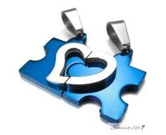 Partnerketten Puzzle mit Herz blau  Edelstahl inkl....