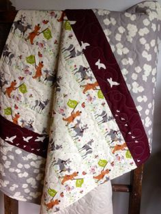 Baby Quilt Organic Modern VintageRustic Yay Day Birch by CoolSpool, $99.00