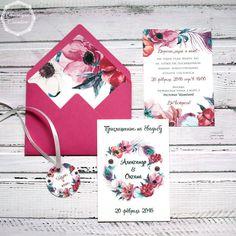 """Купить Приглашение в конверте """"Анемоны и павлиньи перья"""" - фуксия, малиновый, зеленый, изумрудный цвет"""