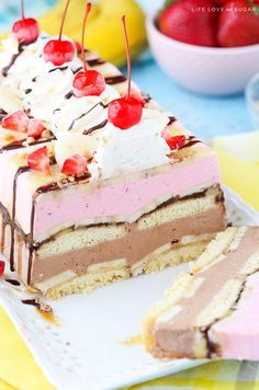 Banana Split Ice Cream Cake Loaf - layers of chocolate and strawberry ice cream, shortbread, bananas, nuts and pineapple! It's also gluten free!