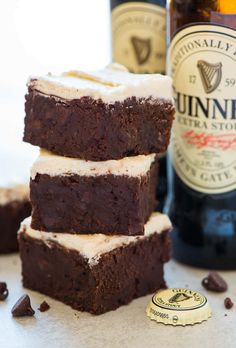 Easy Guinness Brownies. Super moist and chewy brownies with a hint of stout beer. The perfect St. Patrick's Day dessert!
