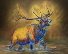 Colorful Contemporary Bugling Bull Elk Art Painting   Contemporary Western Wildlife Art by Animal Artist Teshia  Original Paintings & Art Prints www.TeshiaArt.com