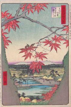 """Maple Trees at Mama, Tekona Shrine and Linked Bridge"" (""Mama no Momiji no Yashiro Tsugihashi"") Date First printing this edition is 1891 ""Memorial Edition."" Series ""One Hundred Famous Views of Edo--Memorial Edition"" (""Meisho Edo Hyakkei"") Japanese Art Prints, Japanese Artwork, Japanese Painting, Japanese Folklore, Zen Art, Japan Art, Print Artist, Woodblock Print, Sculpture"