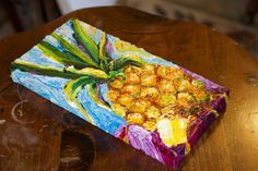 Pineapple 6x12 Inch Original Impasto Oil by OriginalsbyParis