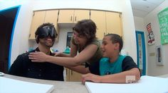 Bojana Coklyat and Asaya have fun blindfolding me in preparation for the class. From our episode at http://www.thislearning.com/2013_st_joseph_s_school_for_the_blind.