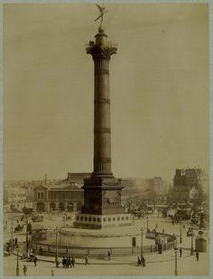 La Colonne de Juillet place de la Bastille et la Gare de la Bastille, circa 1910.