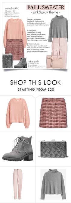 """""""fall sweater: pink&gray"""" by savethealiens ❤ liked on Polyvore featuring H&M, dVb Victoria Beckham, MICHAEL Michael Kors, Joseph, Yves Saint Laurent and fallsweater"""