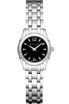 Black and silver are a classic combination in this Hamilton Jazzmaster Lady 27MM women's watch. Great for any occasion.