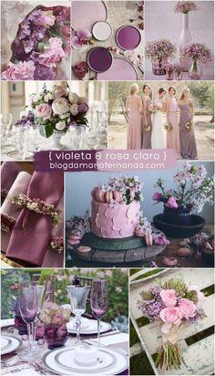 Decoração de Casamento : Paleta de Cores Violeta e Rosa Claro | Blog de Casamento DIY da Maria Fernanda