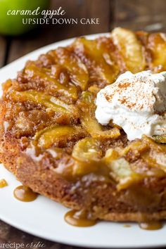Caramel Apple Upside Down Cake - Perfectly moist and baked with apples with a brown sugar caramel glaze! This is one of the best cakes ever!  One of Apple Yarns's favorite apple recipes. #appleyarns