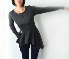 Peplum top/ long sleeve grey peplum blouse. by Mirastudio on Etsy