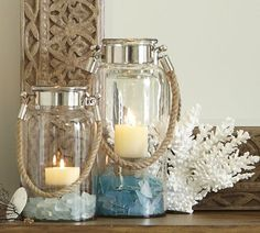 Pottery Barn Sea Glass Filled Lanterns