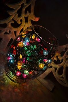 christmas lights in a vase