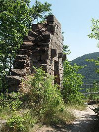 Meistersel Castle is a castle ruin near Ramberg on the outskirts of the Palatinate Forest in Rhineland-Palatinate, Germany. It is located 492m above the Modenbach valley. Meistersel castle is one of the oldest castles in the palatinate.