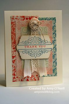 Stamps:  Morning Meadow (hostess) Ink:  Island Indigo, Crisp Cantaloupe Paper:  Very Vanilla, Venetian Romance dsp Embellishments:  Very Vanilla 1/2″ Seam Binding Ribbon, Victoria 5/8″ Crochet Trim, Linen Thread, Very Vintage Designer Buttons, Chalk Talk Framelits  Posted in Morning Meadow	 | 2 Comments