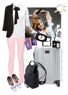 """Byan Jeong-Traveling to Seoul"" by bts-x-exo-97 ❤ liked on Polyvore featuring Maison Kitsuné, LE3NO, Tumi, Royce Leather, TravelSmith, Karl Lagerfeld, WithChic, Bling Jewelry and Casetify"