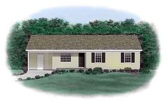 House Plan 45303   Ranch Plan with 1009 Sq. Ft., 3 Bedrooms, 2 Bathrooms, 1 Car Garage