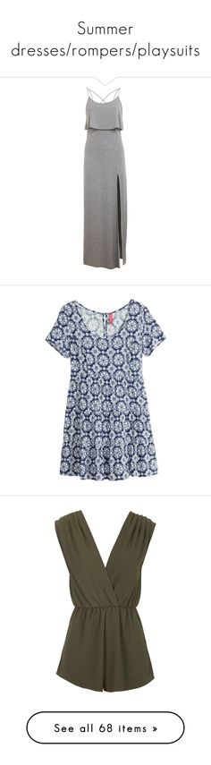 """""""Summer dresses/rompers/playsuits"""" by fluffyhemmings ❤ liked on Polyvore featuring dresses, vestidos, gowns, maxi dress, mid grey, rayon dress, grey maxi dress, maxi dresses, layered maxi dress and gray dress"""