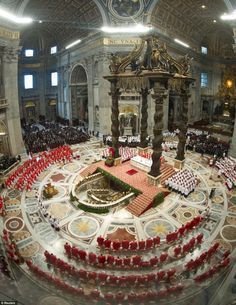 Cardinals, in red, attend a Mass for the election of a new pope celebrated by Cardinal Angelo Sodano inside St Peter's Basilica, at the Vatican Sacred Architecture, Church Architecture, Vatican City Rome, Vatican Tours, New Pope, St Peters Basilica, Cathedral Church, Roman Catholic, Kirchen