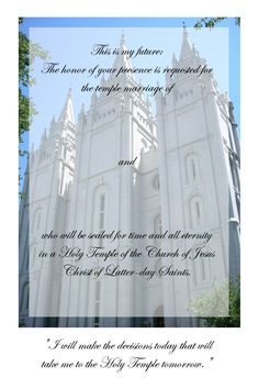 lds young women temple marriage invite - Google Search