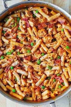 Garlic chicken bacon and ranch pasta easy comfort food dinner spicy chicken pasta with bacon and peas food recipes forumfinder Choice Image